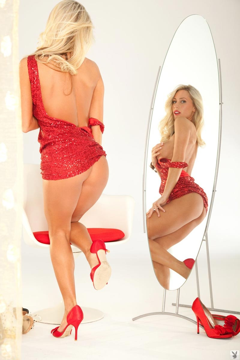 toned blonde model alyssa marie in a sexy red dress