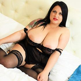 Curvy Katie Black in Black Lingerie