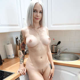 Thin Busty Euro Teen in the Kitchen